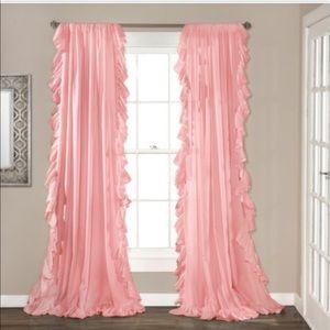 2 curtain panels 54W x 84H pink ruffles.